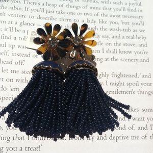 JCrew tortoiseshell and navy earrings, NWT